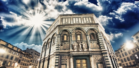Beautiful view of Florence Baptistery in Piazza del Duomo  photo
