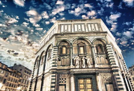Beautiful view of Florence Baptistery in Piazza del Duomo. photo