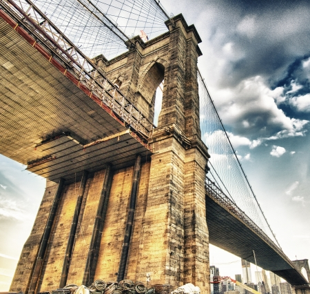 Spectacular view of Brooklyn Bridge from Brooklyn shore at winter sunset - New York City Stock Photo - 19367663