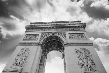 Dramatic sky above Arc de Triomphe in Paris, France photo