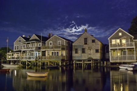 Homes over Water on Nantucket Coastline, Massachusetts