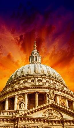 Wonderful sky colors over St Paul Cathedral - London. Stock Photo - 19367523