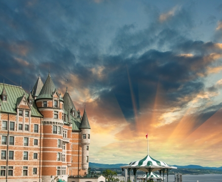 Quebec, Canada. Terrific view of Hotel de Frontenac with colourful sky.