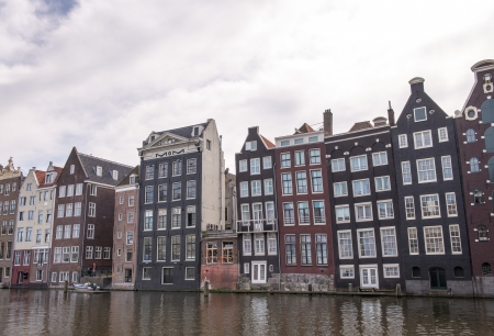 Channels and historic buildings in Amsterdam. Typical Amsterdam architecture on a spring sunny day.