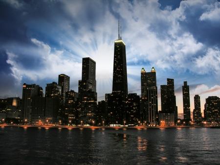 Magnifique Horizon de Chicago au coucher du soleil.