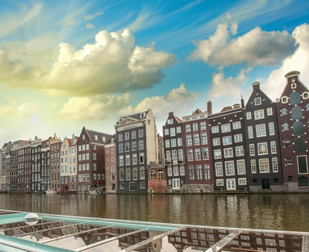 Amsterdam. Typical Dutch Homes over the canal. Stock Photo
