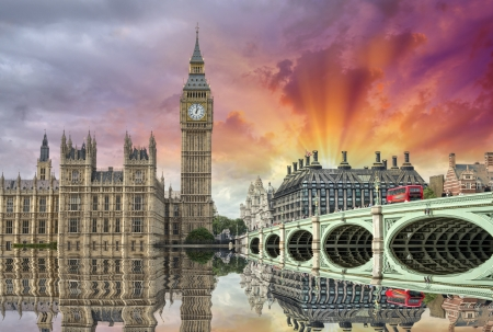 London. Beautiful view of Westminster Bridge and Houses of Parliament with Thames river. Stock Photo