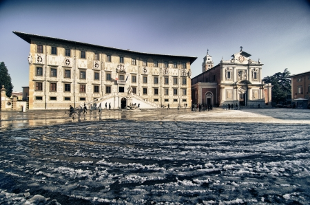 Piazza dei Cavalieri in Pisa after a Snowfall, Italy photo