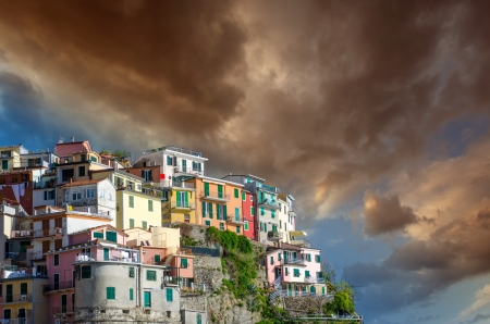 Beautiful colors of Cinque Terre Homes in Spring Season, Italy. photo