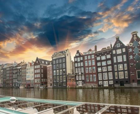 canals: Amsterdam. Typical Dutch Homes over the canal. Stock Photo