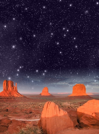 Wonderful night over famous Buttes of Monument Valley, Utah, USA.