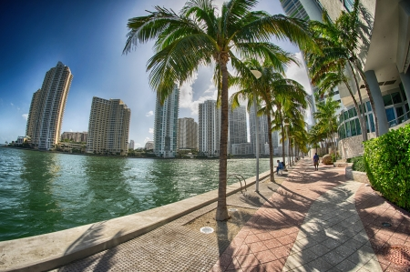 Miami, Florida. Wonderful view of city buildings along the sea.