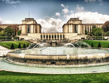 trocadero: Trocadero Gardens and Architecture, beautiful view in Paris. Editorial
