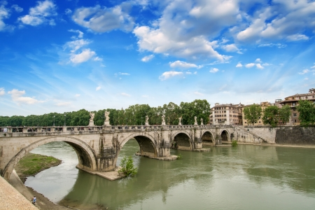tiber: Rome, Italy  Beautiful view of Tiber river with famous Bridge