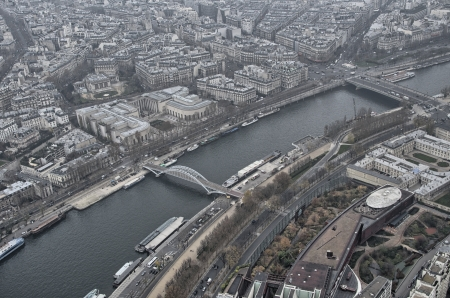 Paris. Gorgeous aerial view of city skyline in winter. photo
