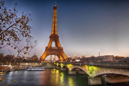 Stunning view of Eiffel Tower at winter sunset, Paris.