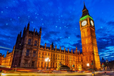 Lights of Big Ben Tower in London - UK