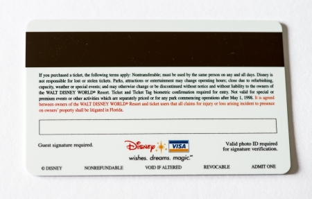 ORLANDO - JAN 1  Walt Disneyworld park entrance card, back side, January 1, 2007 in Orlando  The amusement park attracts 50 million visitors each year