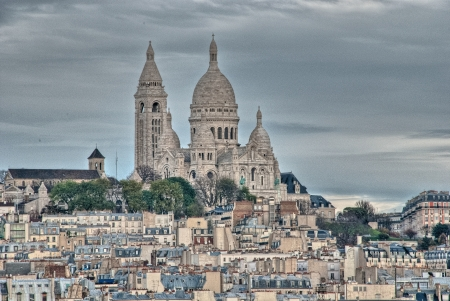 Wonderful aerial view at sunset of Sacred Heart Cathedral - Paris. photo