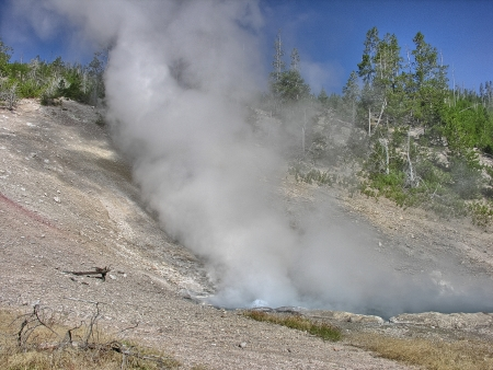 overtone: Beautiful geysers at Yellowstone National Park. Stock Photo