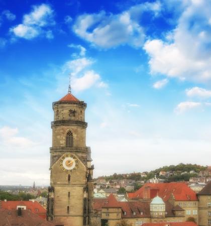 stuttgart: Wonderful sky colors above Stuttgart skyline, Germany.