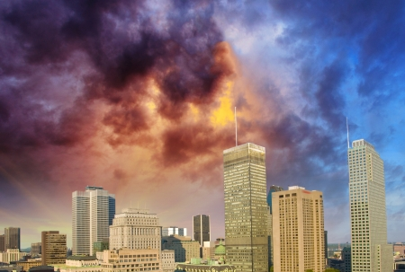 Montreal skyline with beautiful sky colors - Canada. photo