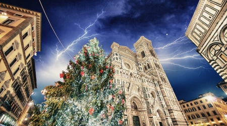 Florence. Beautiful winter colors of Piazza del Duomo with storm. photo