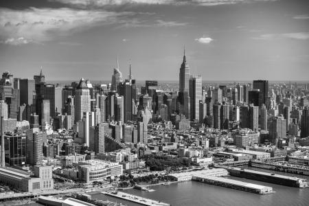 bryant park: Manhattan, New York City. Aerial view of Hells Kitchen Area in summer.