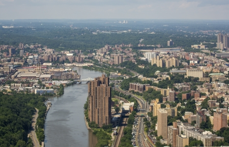 Beautiful aerial view of Queens and Bronx from Helicopter.