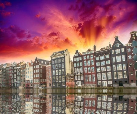 fronts: Amsterdam. Typical Dutch Homes over the canal. Stock Photo