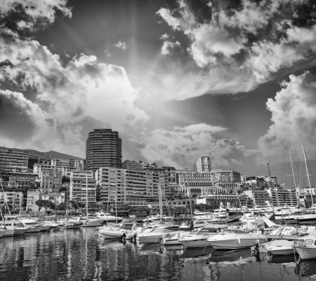 azure coast: Monaco Montecarlo cityscape, principality harbor view. Skyscrapers and marina. Azure coast. France, Europe Stock Photo