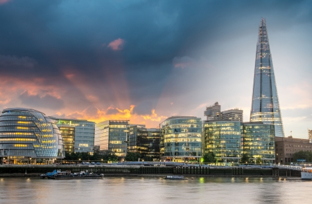 New London city hall at sunset, panoramic view from river