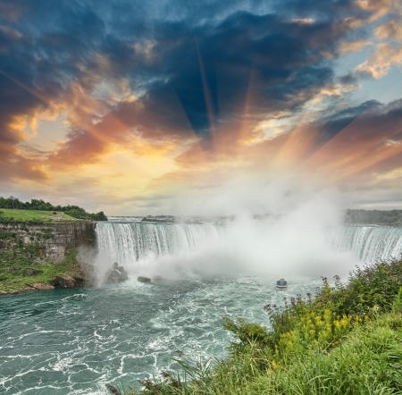 canada day: Niagara Falls. Beautiful side view at summer time.