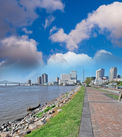 New Orleans. Sidewalk along Mississippi River. photo