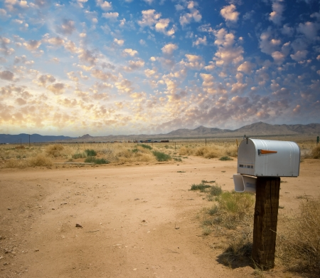 US mail box on the countryside at sunset. Classic post box. photo