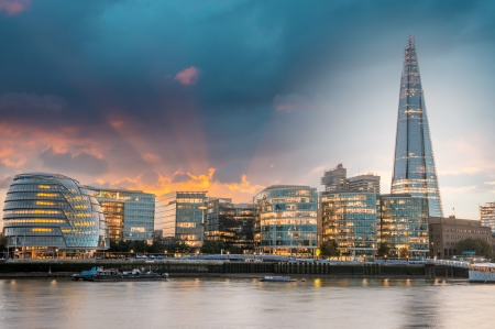 shard of glass: New London city hall at sunset, panoramic view from river