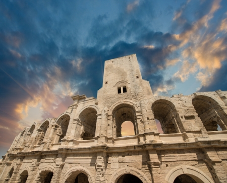 arles: Roman amphitheater (Arena) in Arles, Provence, France. Stock Photo