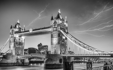 London. Majesty of Tower Bridge on a stormy evening. photo