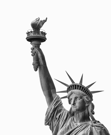 enlightening: Statue of Liberty, Face and Torch - Symbol of New York, isolated on white.