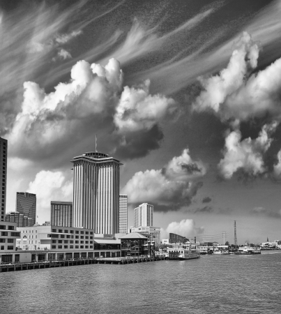 New Orleans. Mississippi River at sunset with city skyline. photo