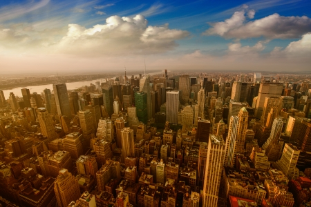 Manhattan, NYC. Stunning city skyline at summer sunset. photo