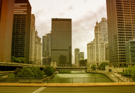 Chicago. Beautiful city skyline and river. photo