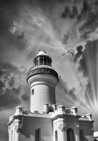 Beautiful sky over White Lighthouse. photo
