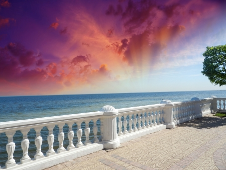Wonderful stone balcony with great ocean view. photo