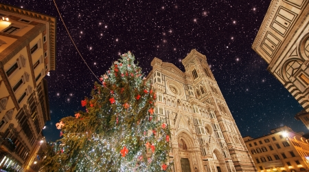 Florence. Beautiful winter colors of Piazza del Duomo at night. photo