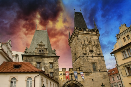 Dramatic sky above Prague and its landmarks, Czech Republic