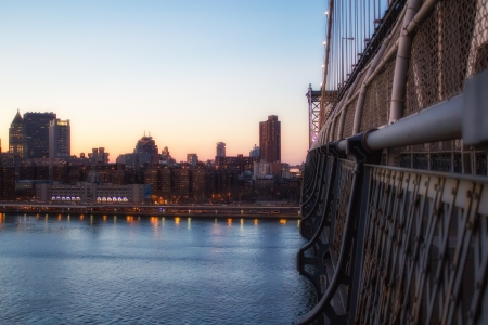 Manhattan Bridge at Sunset in New York City with City Skyline - U.S.A. photo