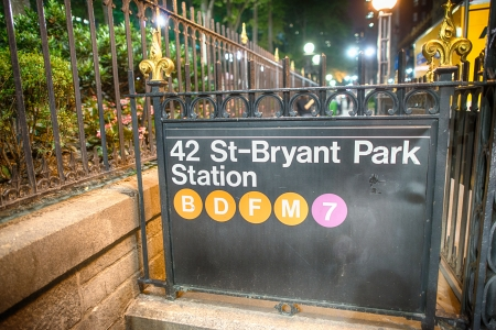 bryant park: 42st - Bryant Park Subway sign in the summer night, New York City. Stock Photo