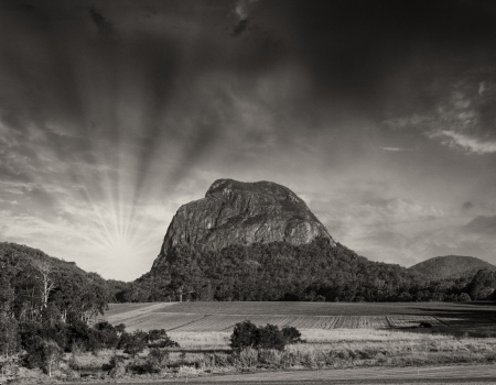 Glass House Mountains National park in Australia with dramatic sky. photo