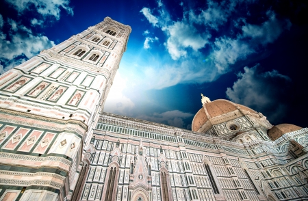 Beautiful sky colors over Cathedral Church. Duomo, Basilica di Santa Maria del Fiore in Florence, Italy. photo